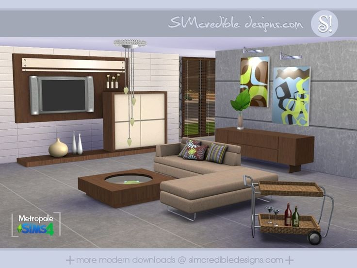 Metropole Living Room By SIMcredible! At TSR Via Sims 4 Updates