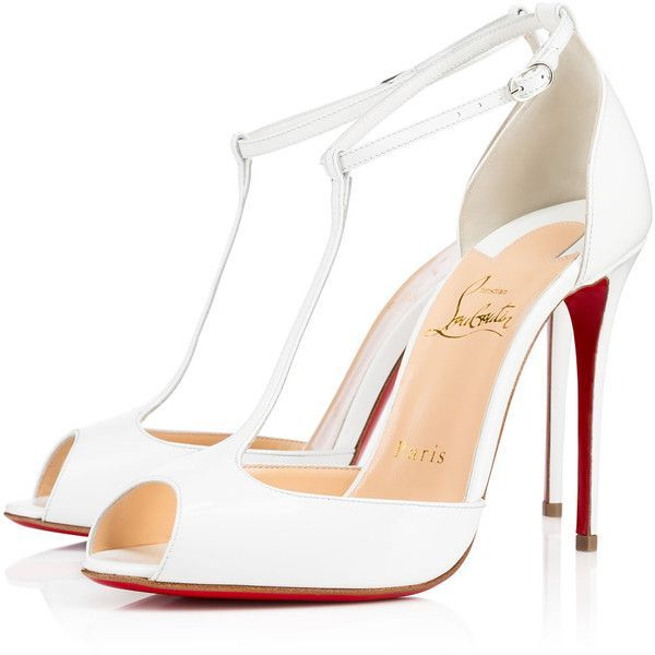 Christian Louboutin Senora ($875) ❤ liked on Polyvore featuring shoes, pumps, white, open-toe pumps, patent leather pumps, white t strap pumps, high heel shoes and high heel pumps