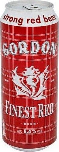 Gordon Finest Red 50cl 8.4% GORDON Finest Red is a color of beer that is related to his hot temper. The taste of Gordon Finest Red is direct and precise putting forward arguments spicy but dry. In the finish, it bows out on a bittersweet note and bounced by a peppery smell alcohol