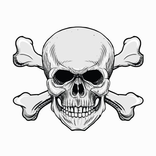 картинка черно белая череп с костями