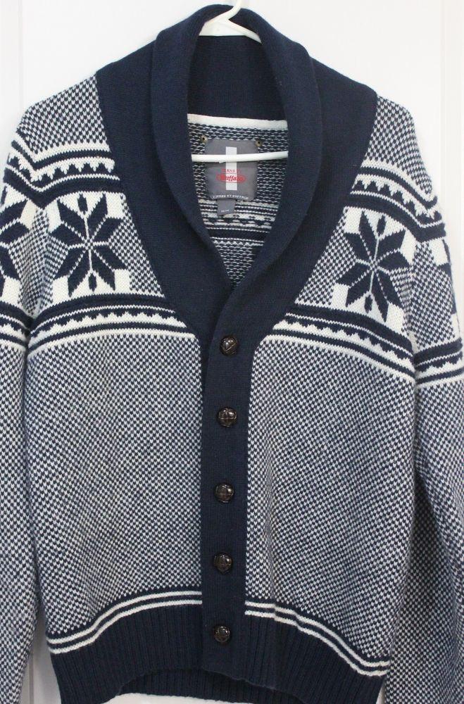 i Jeans by Buffalo Mens Cardigan Sweater Medium Snowflake  #BuffaloJeans #Cardigan