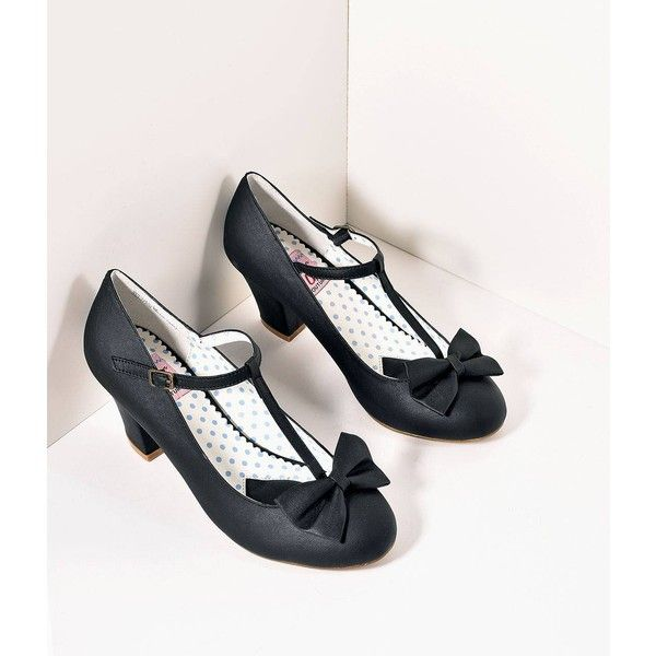 Vintage Style Black Leatherette T-Strap Bow Wiggle Heels Shoes ($58) ❤ liked on Polyvore featuring shoes, multicolor, black t bar shoes, black shoes, kohl shoes, black bow shoes and black mid heel shoes