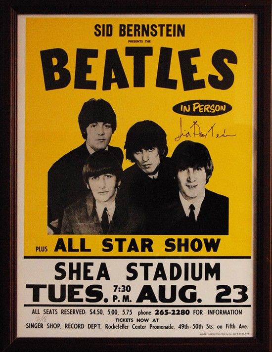 Beatles Shea Stadium Concert poster signed by promoter Sid Bernstein (certified). Auction online 6/14/2014!