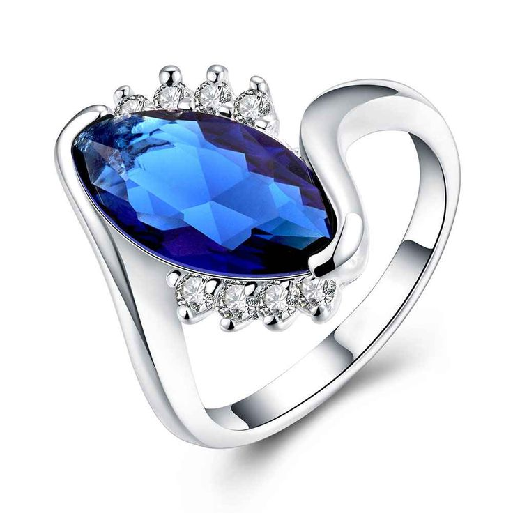 Charm Water Drop Cut Blue stoneRing Women Party 925 sterling Silver Size 8 fashion rings Hot Sale Free Shipping