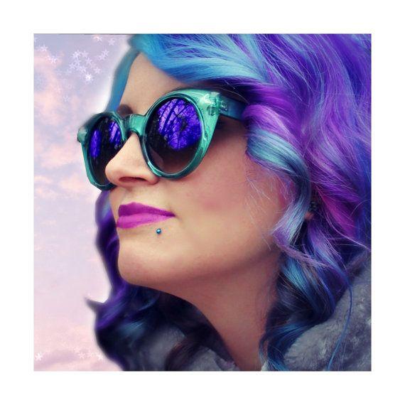 Galaxy Teal Cateye Sunglasses - Vintage Aqua Cat Eye Glasses - Iridescent Turquoise Star - Round Cateyes - Retro Custom Made - Gift Under 30