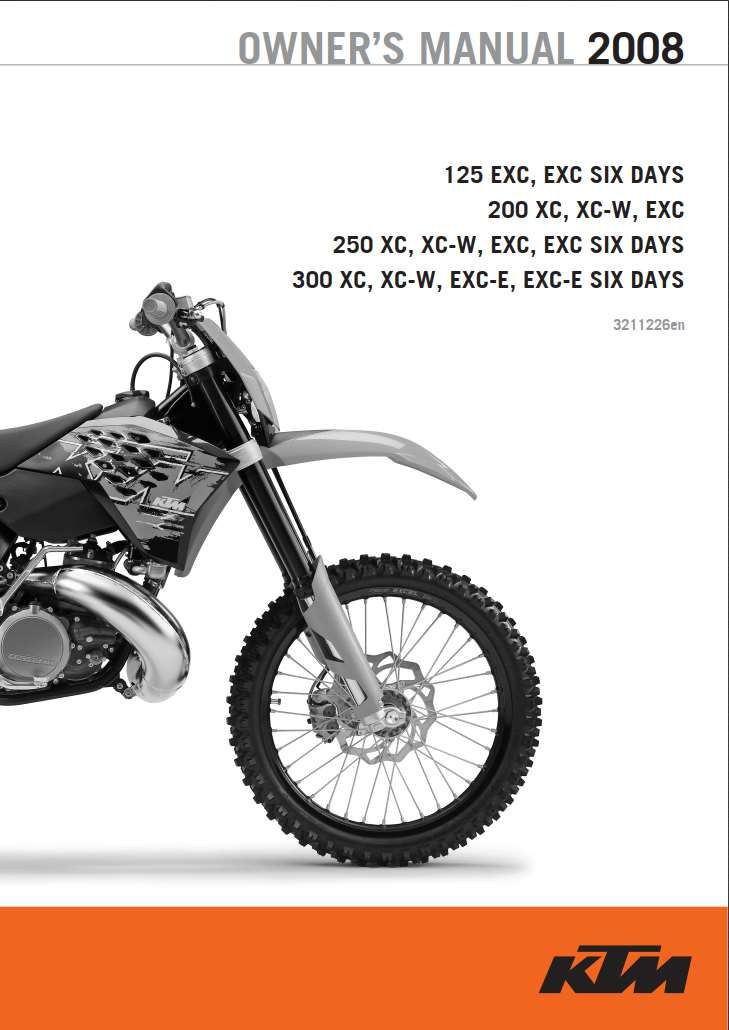 Ktm 125 200 250 300 2008 Owner S Manual Has Been Published On Procarmanuals Com Https Procarmanuals Com Ktm 125 200 250 300 200 Ktm 125 Ktm Owners Manuals