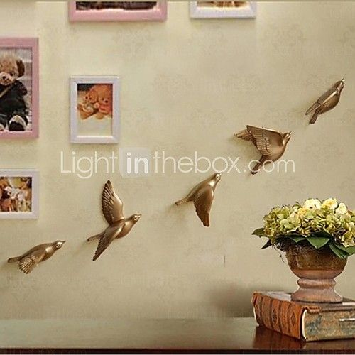 metall vägg konst väggdekor, maskros flygande väggdekor uppsättning av 5 | LightInTheBox