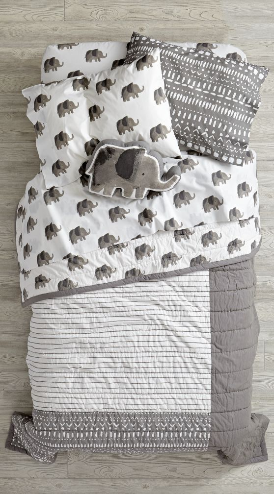 If you're looking to take in a few wild sights, the playful prints on this illustrated elephant bedding set should do the trick. Perfect for a girl's or boy's bedroom, this bedding has it all. The quilt features a blend of printed and pieced elements, while the 100% cotton sheet set is adorned with delightful prints. And it was designed just for us by Paper and Cloth, so you won't find this exclusive set anywhere else. Grab the whole set and go wild.