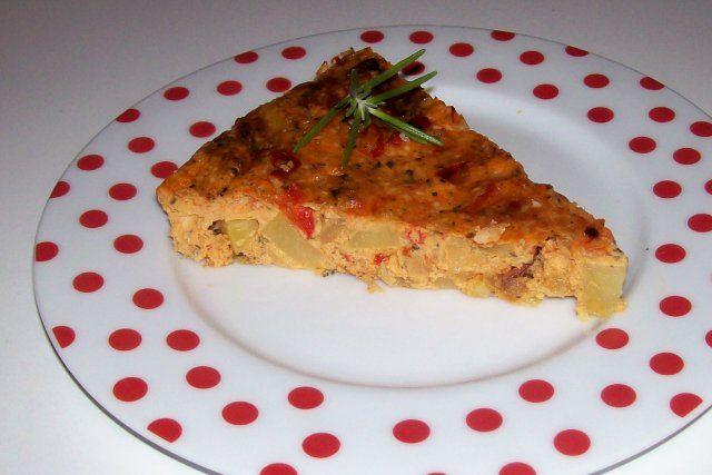 Das perfekte Würziges Ofen-Kartoffel-Omelett mit Pecorino und getrockneten Tomaten-Rezept mit einfacher Schritt-für-Schritt-Anleitung: Paprikahälfte…