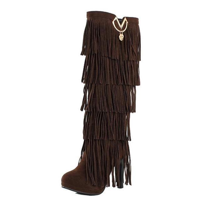 Fringe Tassels High Healed Winter Fur Women Black ,Brown, Red, Yellow, Beige,