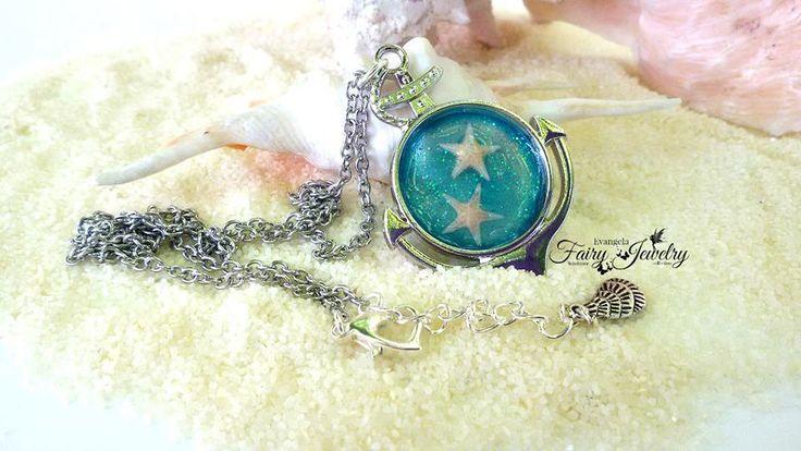 Collana mare resina stelle marine vere ancora argentato acciaio anallergico , by Evangela Fairy Jewelry, 15,00 € su misshobby.com