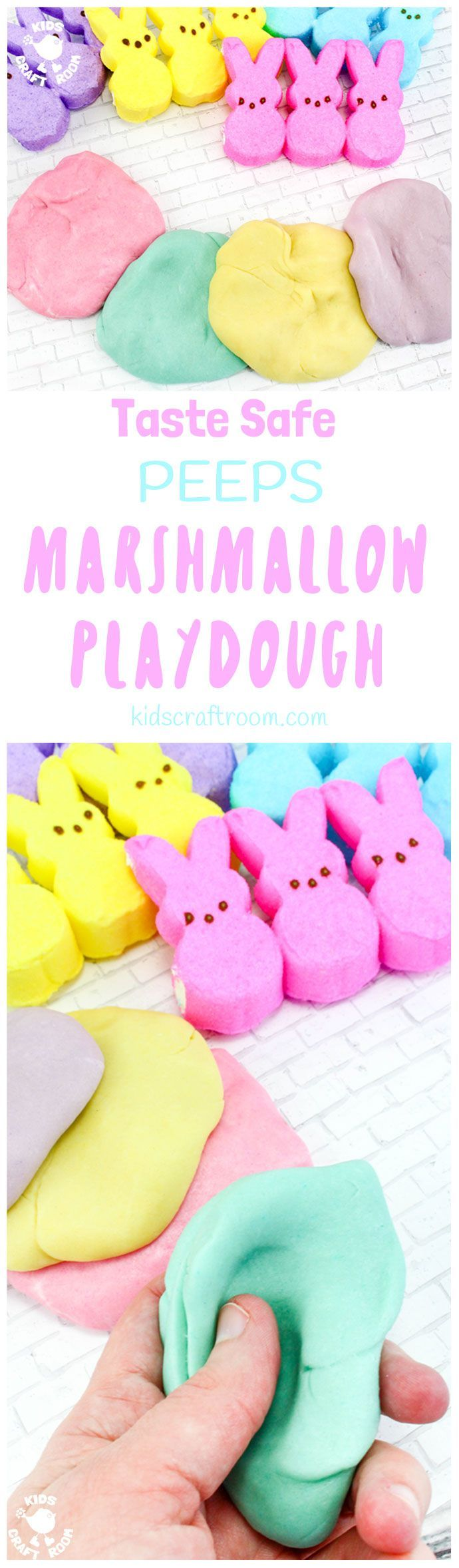 Kids will have hours of fun with this Taste Safe Peeps Marshmallow Play Dough and you don't have to worry about them sneaking a little taste as it's all edible! It's fluffy and soft, smells good and the colours are gorgeous pastels. A truly multi sensory play experience for kids of all ages. #sensoryplay #ECE #Easter #sensory #playdough #playdoughrecipe #edibleplaydough #playdoh #playdohrecipe #easteractivities #kidsactivities #peeps #kidscraftroom #sensory #preschool #earlyyears  #playideas