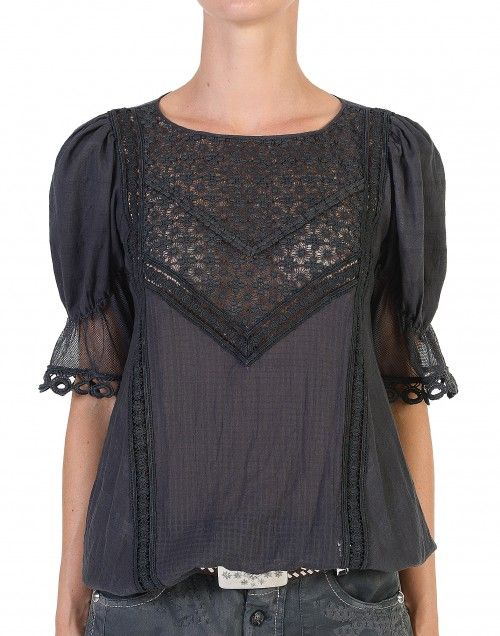 PANDORA: Top en coton avec des manches brodées en dentelle. - Look 44 - Printemps Été 15 - Collections - HIGH