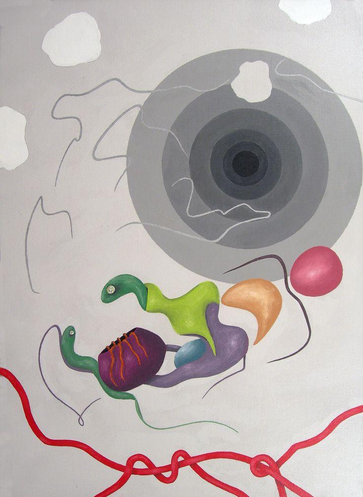 """""""Oltre il filo rosso"""" acrilici su tela, cm 70x50, 2008"""