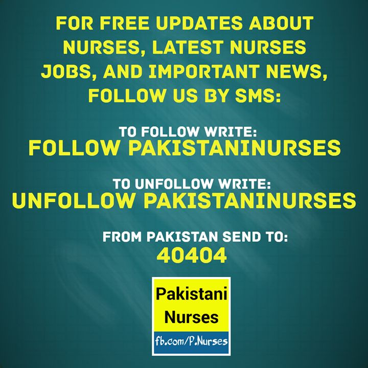 "For free SMS about latest nurses #jobs important #news and updates about #nurses follow us by SMS: write ""Follow PakistaniNurses"" and send it to 40404 from #Pakistan."