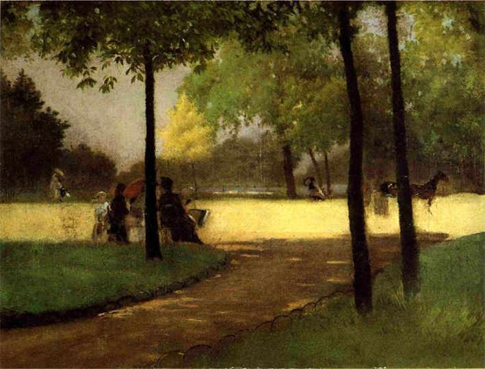 Giuseppe De Nittis Bois de Boulogne oil on canvas, 27,5 x 36 cm.