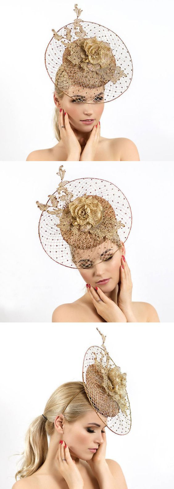 """Golden beige elegant and dressy Fascinator mini hat """"Francesca"""" with beautiful handmade silk flowers and lace for Kentucky Derby, Del Mar, Epsom, Royal Ascot. Gold Lace Veiled Floral Fascinator for Racing Day at the Races, Dubai World Cup racing fashion inspiration, spring wedding outfits. #kentuckyderby #royalascot #bridal #fascinators #springwedding #weddingguest  #weddings #derbyoutfits #racingfashion #ascothats #derbyhats #handmadeonetsy #affiliatelink #handmadeisbest #weddingoutfits"""