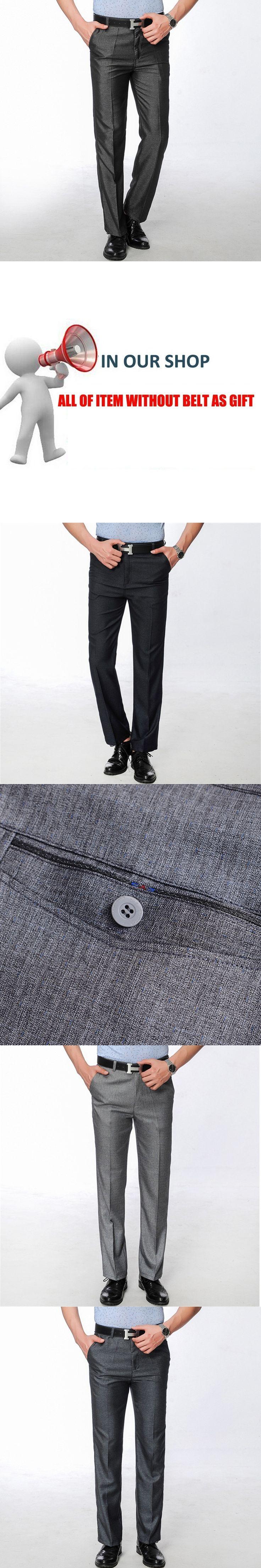 Mens Dress Pants 2017 Men Slim Fit Black Suit Pants Costume Pantalon Homme Regular Fit Grey Straight Trousers of Suits no belts