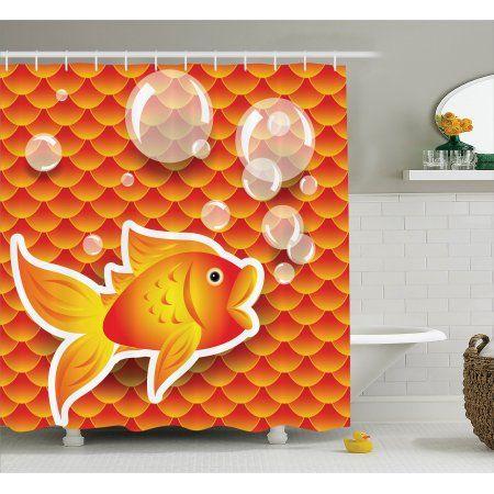 Orange Shower Curtain Set, Cute Small Goldfish Talking with Bubbles Random Scallop Patterns Decorative Home, Bathroom Decor,  Burnt Orange, by Ambesonne