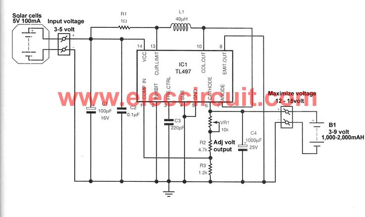 make solar aa battery charger circuit by tl497 eleccircuit