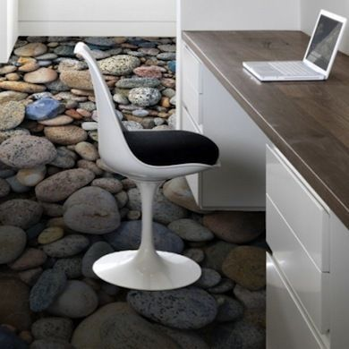 River rock vinyl floors......I would have this put in a bathroom with coordinating colored walls and pebble themed decor