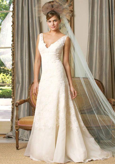 Chapel Train A-line Sleeveless V-neck Natural Waist Wedding Dress
