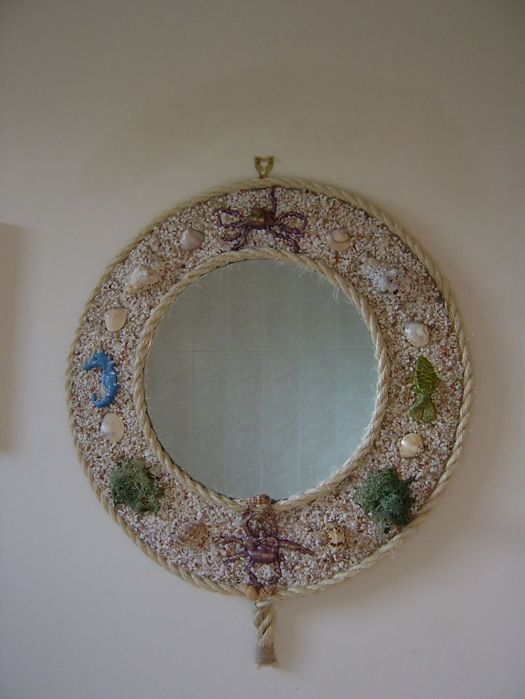 My first Sea life mirror made with clay sealife creatures.