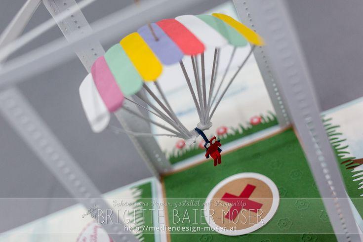Explosionsbox mit Fallschirm, hergestellt von Brigitte Baier-Moser mit Stampin'Up!