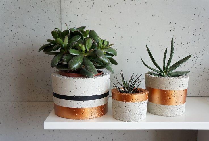 Zestaw 3szt doniczki betonowe,osłonki z betonu SML w GrowRaw na DaWanda.com