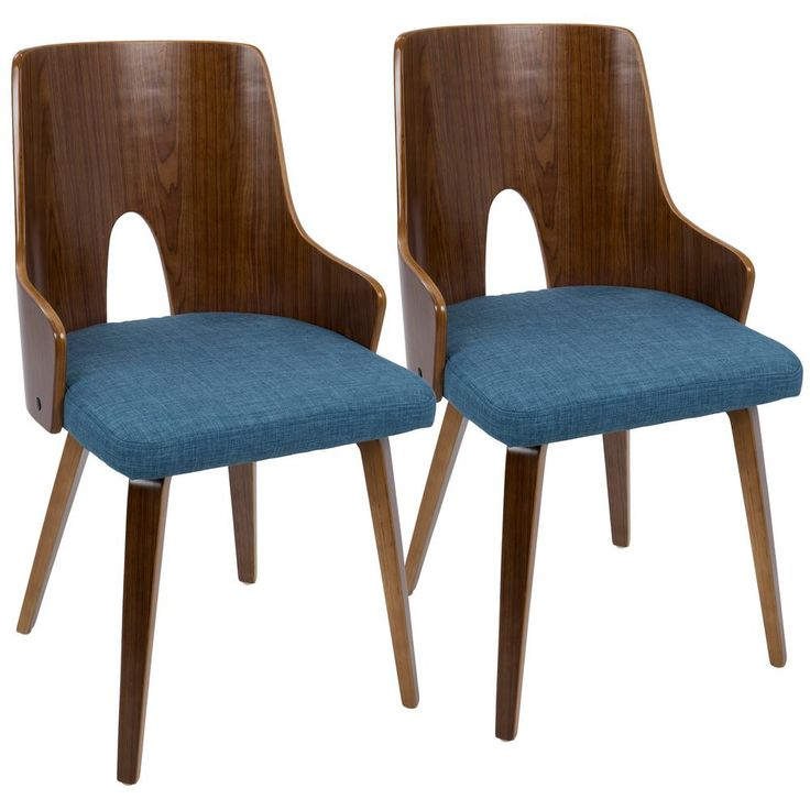 Ariana Walnut and Blue Accent Chair (Set of 2), Brown/Blue