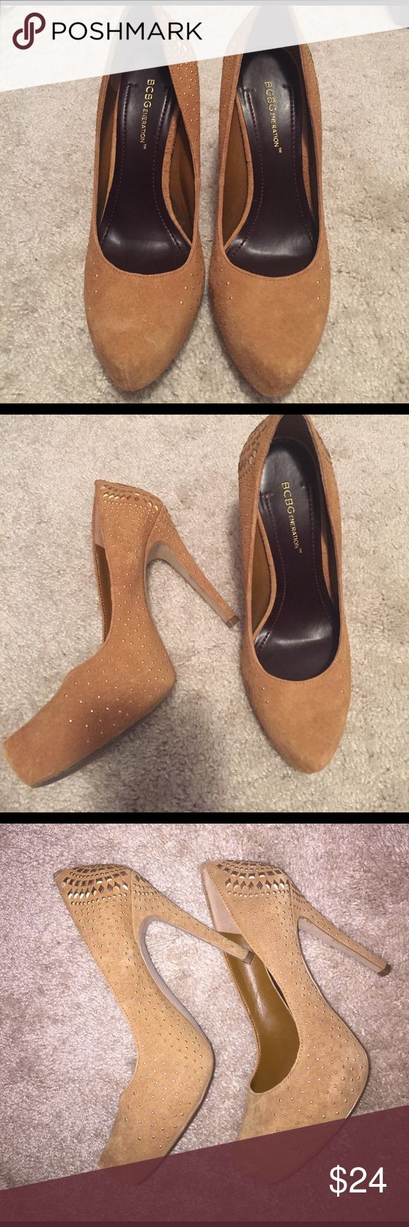 """BCBG Pumps - """"PRISM"""" Camel suede with gold studs Very high heel, beautiful BCBG suede pumps in camel color with gold studded detail all around sides and back including heel! Great condition! Worn ONCE! all signs of wear (if any visible) are shown in pics:) BCBGeneration Shoes Heels"""
