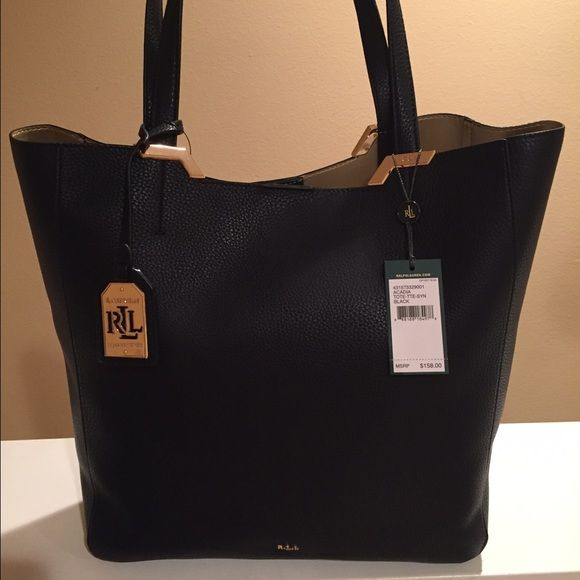 **Ralph Lauren Black Acadia Tote** Brand new. Ralph Lauren. Timeless style. Large and roomy tote for any occasion. Single button closure. Ralph Lauren Bags Totes