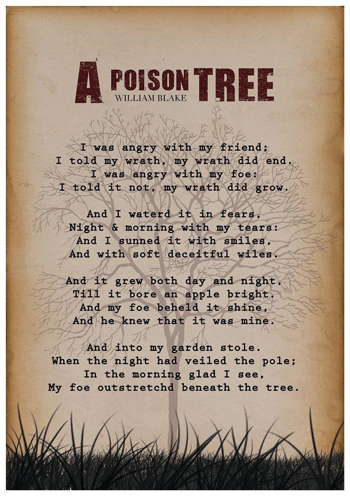 William Blake A Poison Tree William Blake Poem Wall by Redpostbox