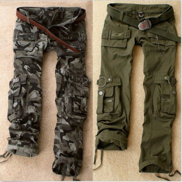 Perfect Size Green Camouflage Cargo Pants Women Army Fatigue Pants Loose Jeans