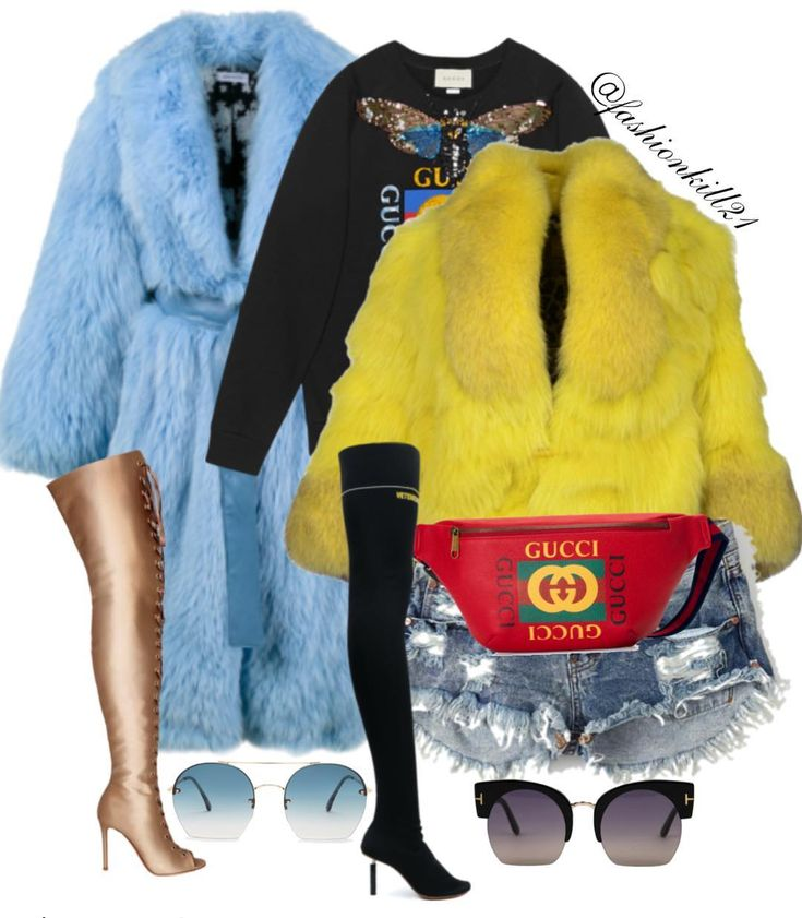 Monica and Rasheeda's fur looks with a twist! #yallknowihadtodoit DETAILS: Blue Fur #Sakspotts Boots #Gianvitorossi Frames #Tomford Sweatshirt /FannyPack #Gucci Yellow Fur #Yvessalomon Boots #Vetements Frames #Tomford Shorts #Oneteaspoon #styledbyfashionkill21
