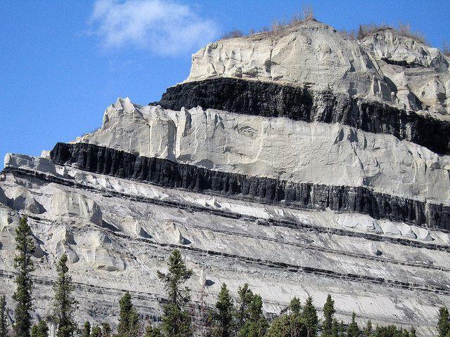 Coal Seams, they stretch on for 20 mi. Usibelli Coal Mine, Healy, Alaska, in the mtns of the Alaska Range