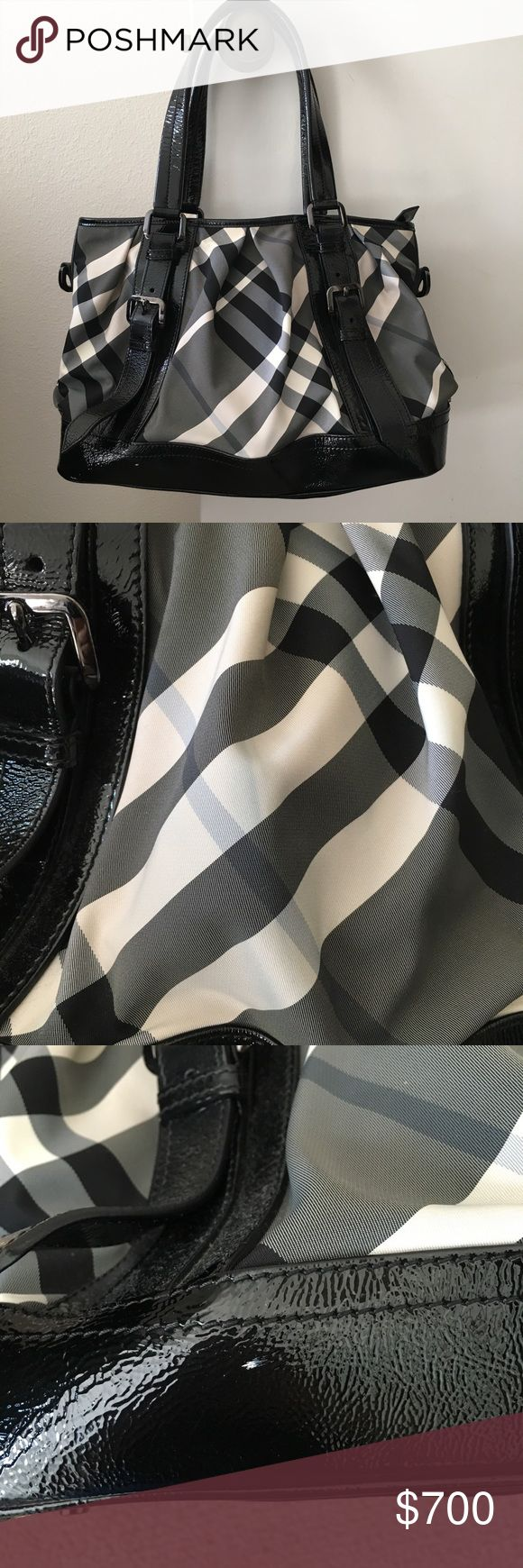 "Burberry Beat Check Lowery medium bag This is a 100% authentic Burberry Lowery bag in beat check. There are a few marks on the bag but they're not too noticeable. The first one is a small white dot on the black leather on the bottom of the bag. The second looks like a bit of denim transfer on one side of the bag, but it's pretty light. There are a few scuff marks on the long strap Too. Comes with dust bag.  Handle Drop 8"", Height 10"", Width 15"", Depth 7"" Burberry Bags"