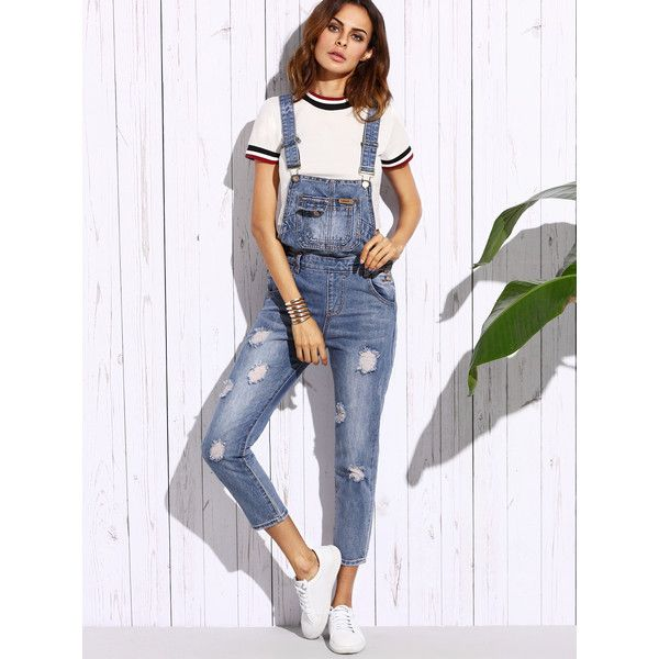 SheIn(sheinside) Ripped Bleach Wash Overall Jeans ($22) ❤ liked on Polyvore featuring jeans, blue, denim bib overalls, bleached denim jeans, destroyed jeans, ripped denim jeans and ripped blue jeans