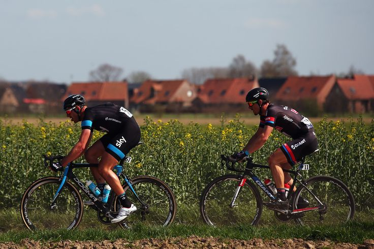 Ian Stannard of Great Britain and Team SKY leads race winner John Degenkolb of Germany and Team Giant-Alpecin during the 2015 Paris - Roubaix cycle race from Compiegne to Roubaix on April 12, 2015 in Roubaix, France.