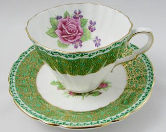 Vintage Tea Cup and Saucer, Green with Pink Rose, Made by Gladstone, English Bone China