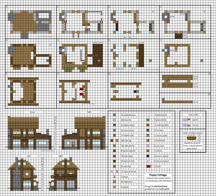 Charming Poppy Cottage   Medium Minecraft House Blueprints By Planetarymap