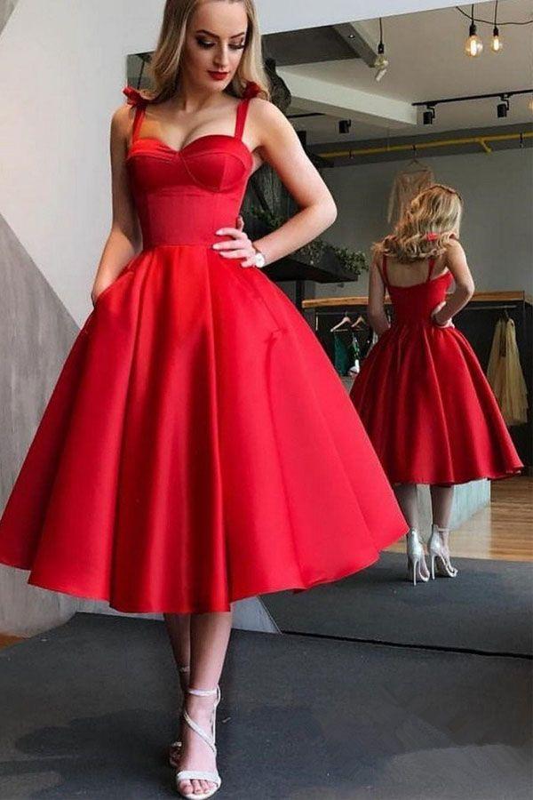 f01a612533e RED CUTE TEA LENGTH GRADUATION DRESS ELEGANT MIDI PROM DRESSES TP0826  red   prom  dress  tirdresses