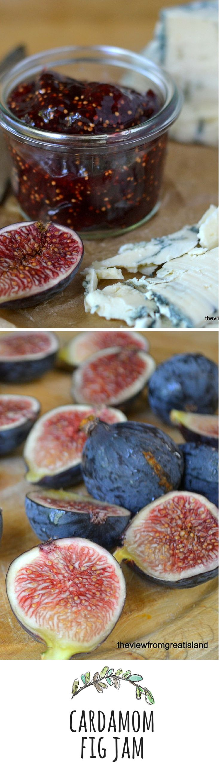 Delicious cardamom fig jam. Have it with with cheese, on toast, or swirled in yogurt.