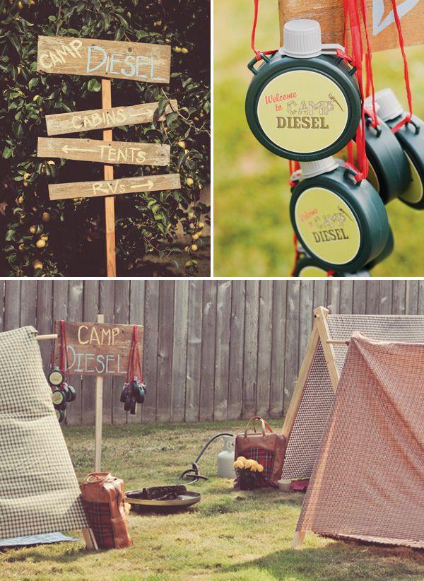 Vintage Inspired Backyard Camping Party. GW: I like the painted wooden sign and trail mix bar