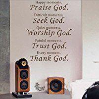 TMODD 1 X Wall Vinyl Decal Quote Sign Christian Praise God DIY Art Sticker Home Wall Decor