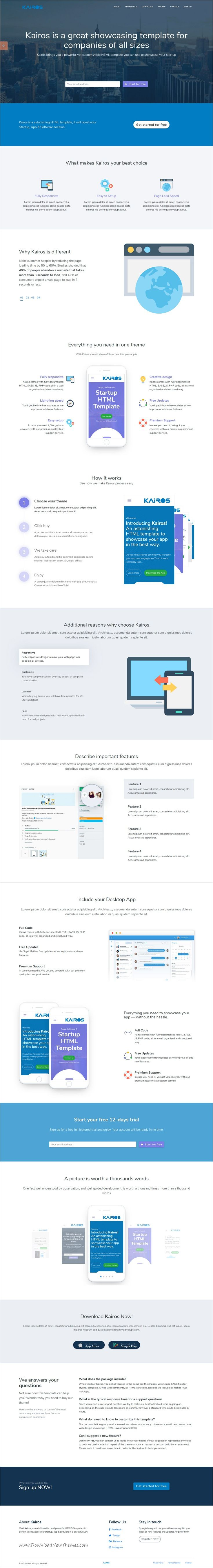 Kairos is clean and modern design 5in1 responsive #HTML5 template for startups #app and software showcase landing page #website download now..