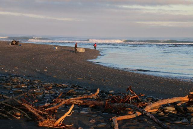 Whitebaiting on Okarito Beach.  Photo Yok Sinclair.