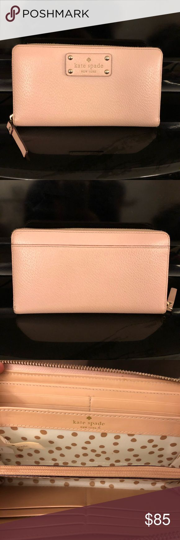 """Kate Spade Wellesley Neda Wallet Kate Spade Wellesley Neda wallet in light pink! This wallet measures 4"""" in height and 7.5"""" in length. Great condition! kate spade Bags Wallets"""