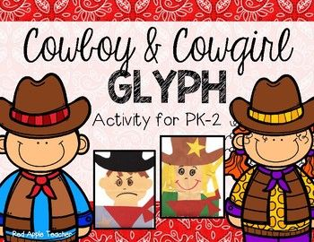 This easy to make Cowboy and Cowgirl Glyph is perfect for your PK-1 Class!  It goes well with a cowboy or Texas themed unit.Included in this package are:*All patterns (head, hat, bandana, star)*Glyph questionnaire*Glyph Key (perfect for your bulletin board display)Preparation:Copy all patterns on colored paper.  (May also have students color the pieces instead.)  Copy the optional questionnaire.