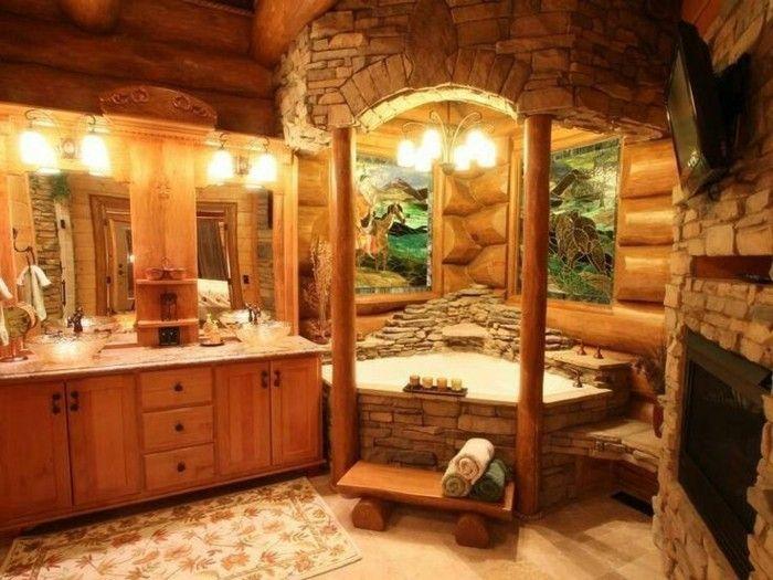 hangar amenage salle de bain en bois et pierre grand miroir tapis serviettes propres
